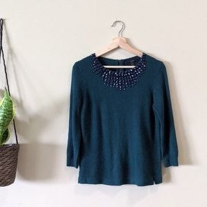 J. CREW Jeweled Starburst Wool Sweater